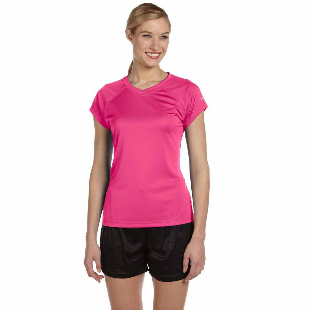 Champion Women's Wow Pink Double Dry 4.1-Ounce V-Neck T-Shirt
