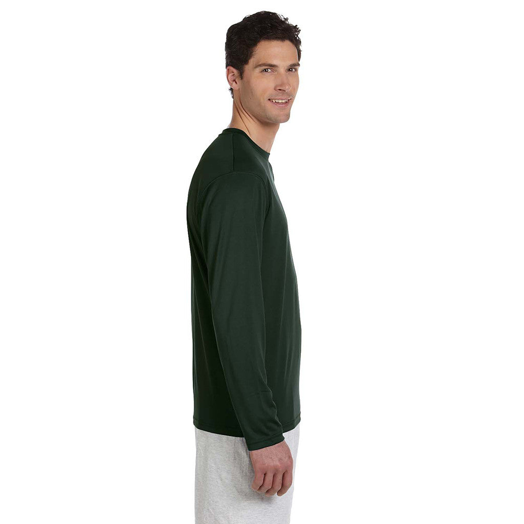 Champion Men's Double Dry Dark Green L/S Performance T-Shirt