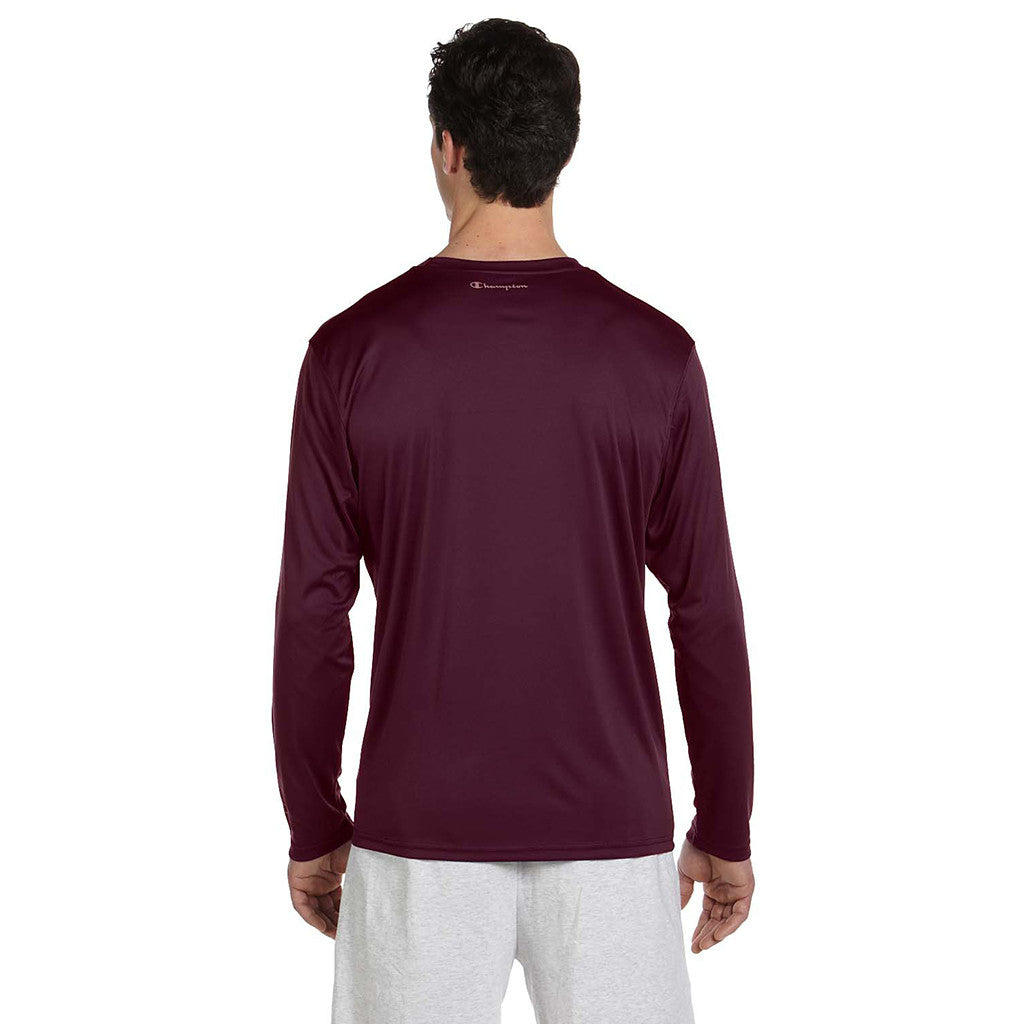 Champion Men's Double Dry Maroon L/S Performance T-Shirt
