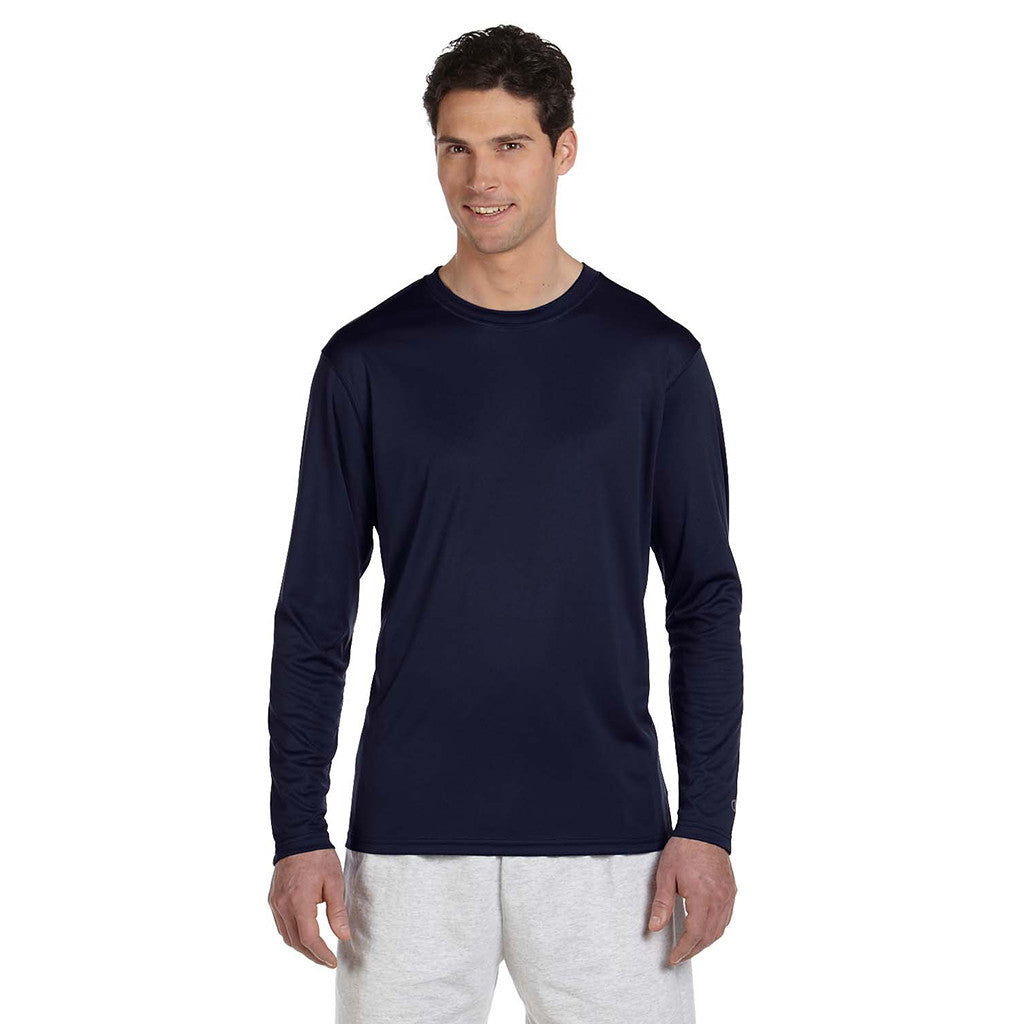 Champion Men's Double Dry Navy L/S Performance T-Shirt