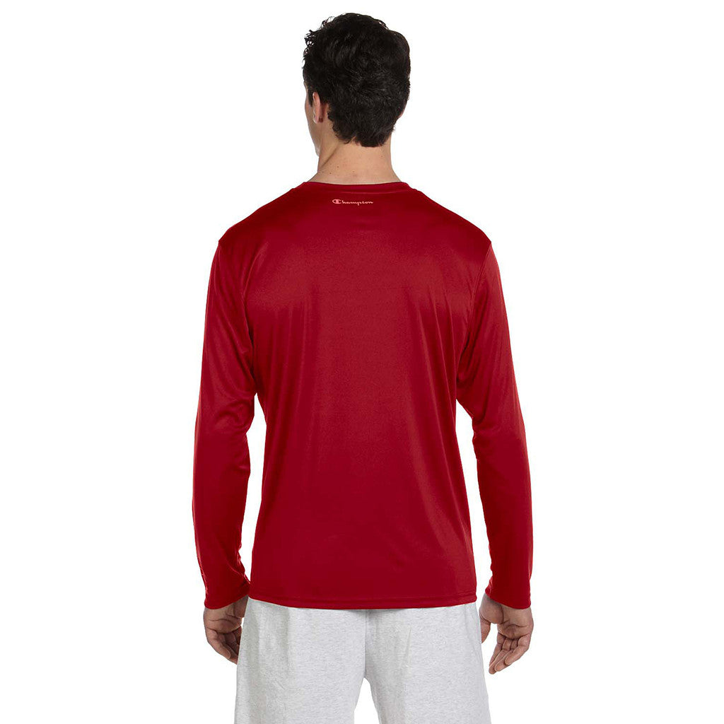 Champion Men's Double Dry Scarlet Red L/S Performance T-Shirt