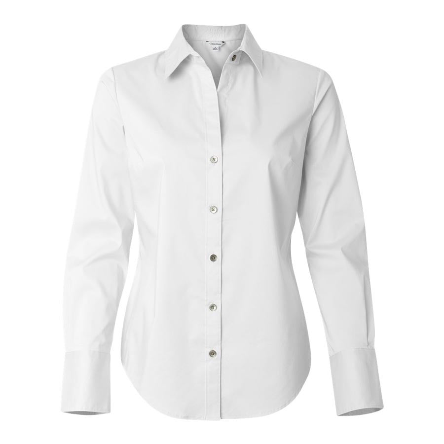 Calvin Klein Women s White Stretch Solid Dress Shirt 88937333d