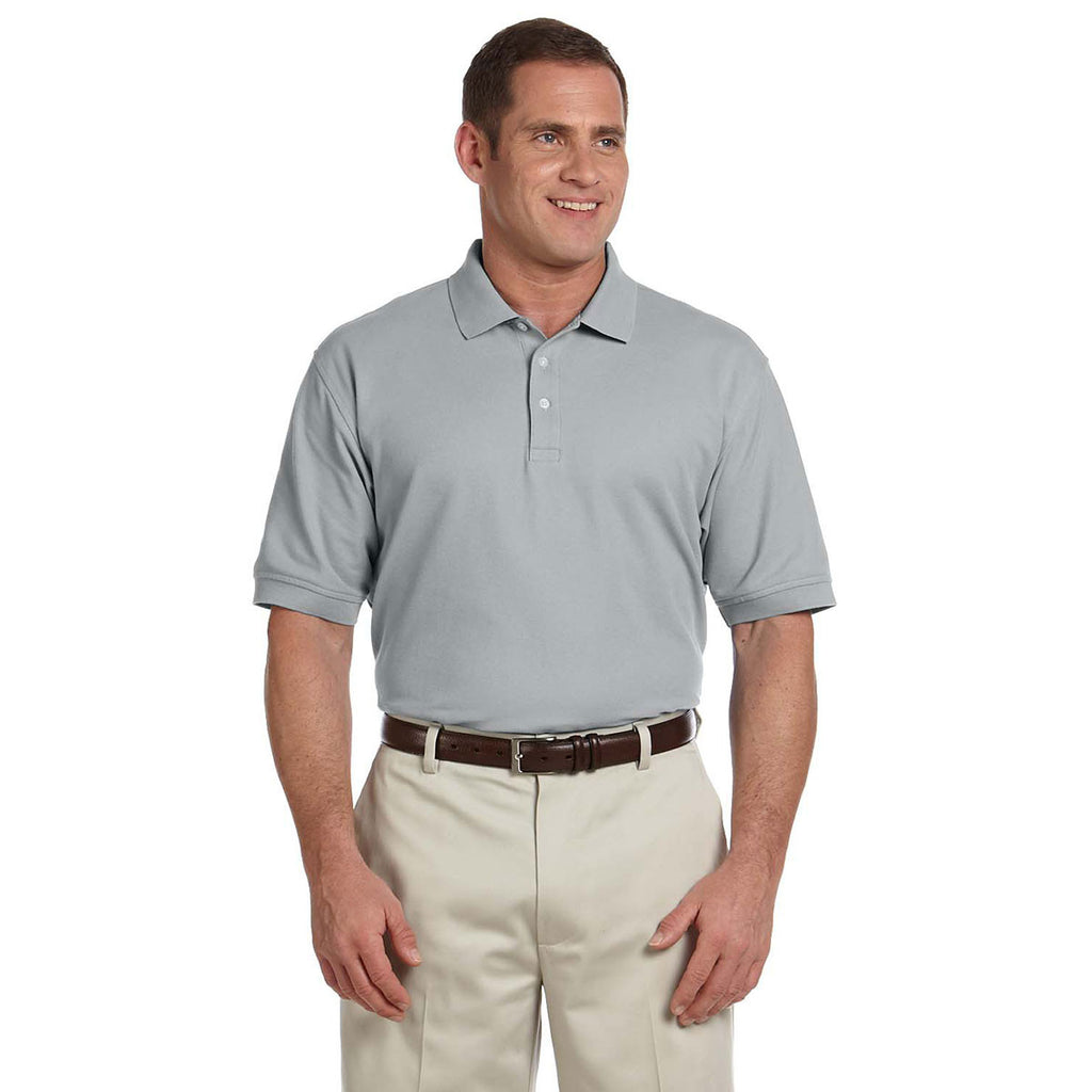 Devon & Jones Men's Grey Heather Pima Pique Short-Sleeve Polo
