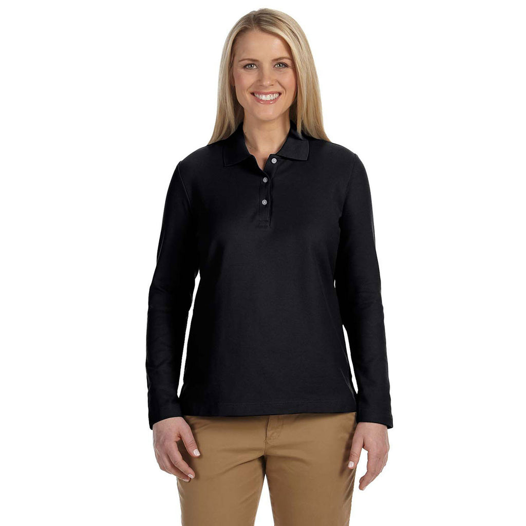 Devon & Jones Women's Black Pima Pique Long-Sleeve Polo