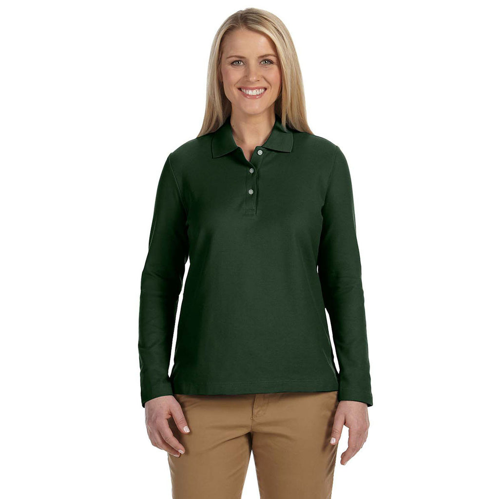 Devon & Jones Women's Forest Pima Pique Long-Sleeve Polo