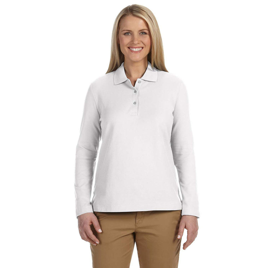 Devon & Jones Women's White Pima Pique Long-Sleeve Polo