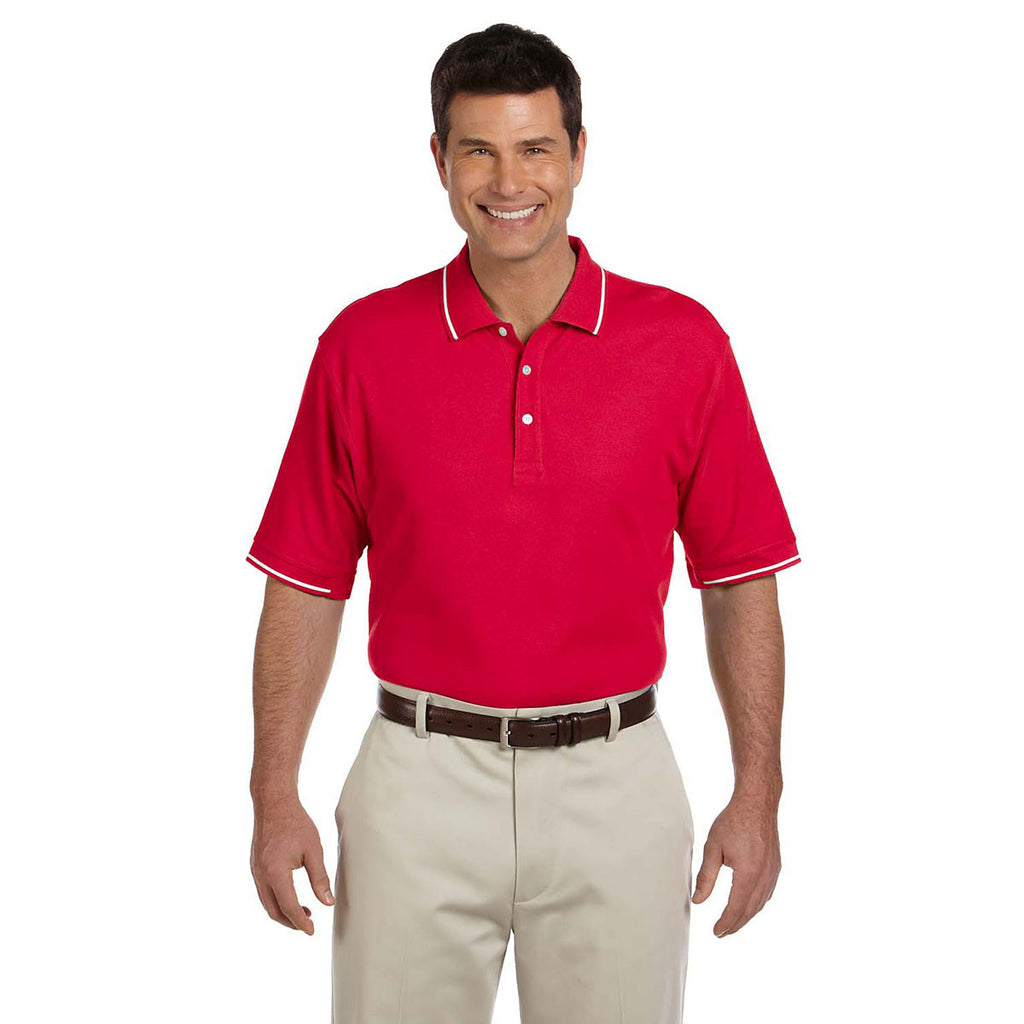 Devon & Jones Men's Red/White Pima Pique Short-Sleeve Tipped Polo