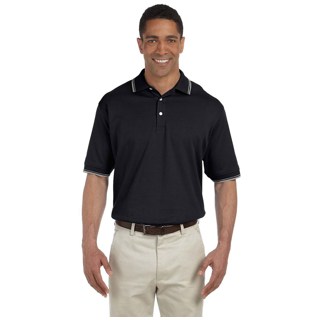 Devon & Jones Men's Black/Grey Heather Tipped Perfect Pima Interlock Polo