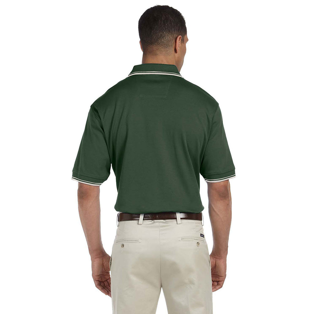Devon & Jones Men's Forest/Creme Tipped Perfect Pima Interlock Polo