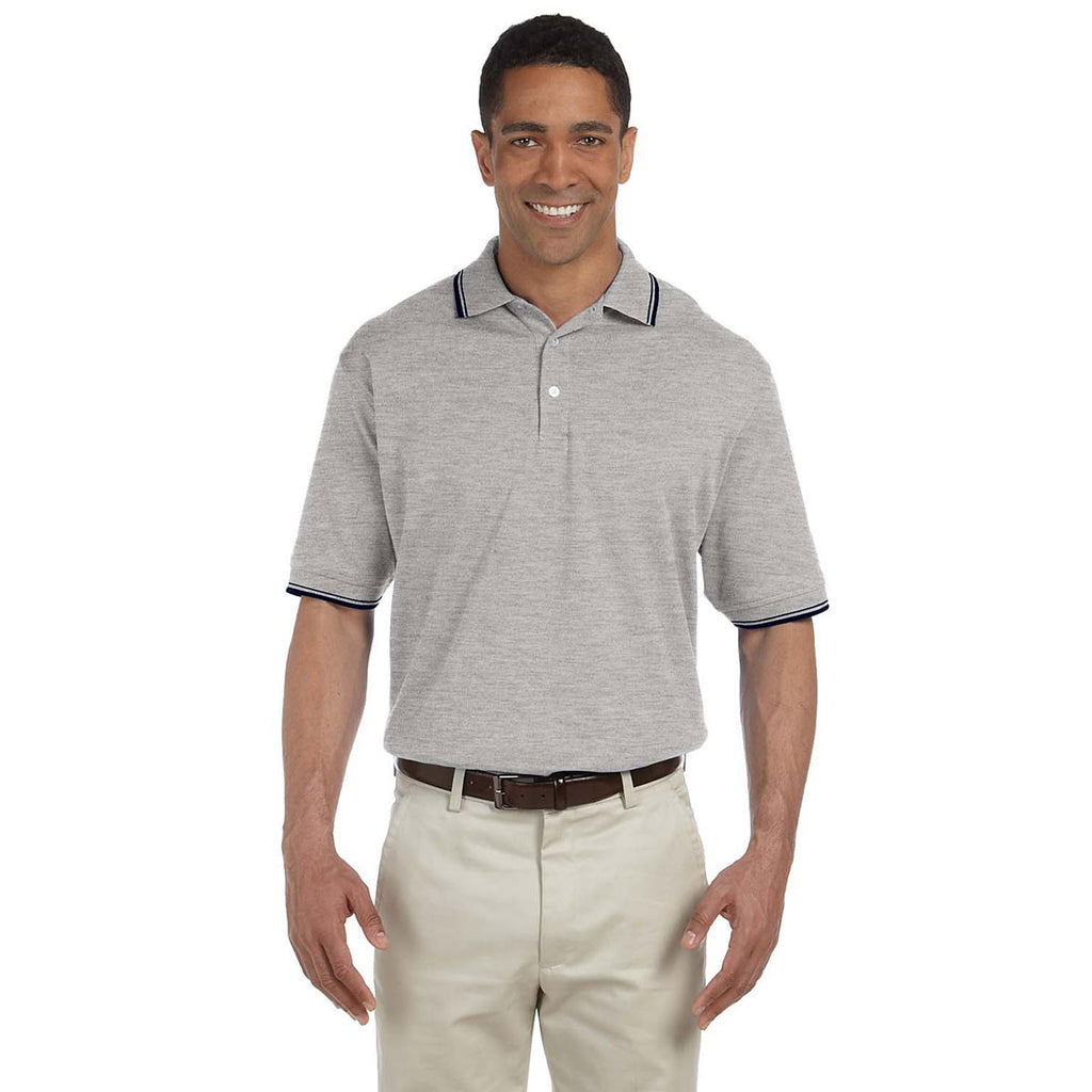 Devon & Jones Men's Grey Heather/Navy Tipped Perfect Pima Interlock Polo