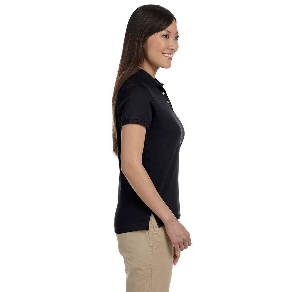 Devon & Jones Women's Black Solid Perfect Pima Interlock Polo