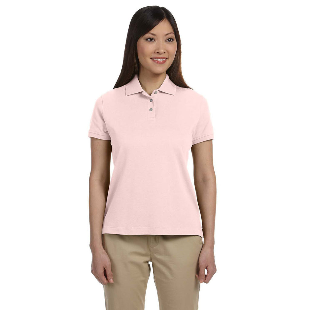 Devon & Jones Women's Pink Solid Perfect Pima Interlock Polo