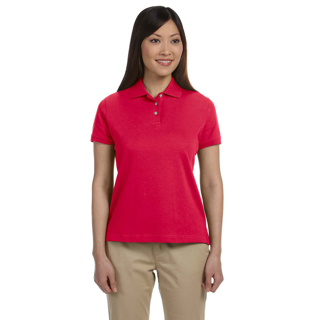 Devon & Jones Women's Red Solid Perfect Pima Interlock Polo