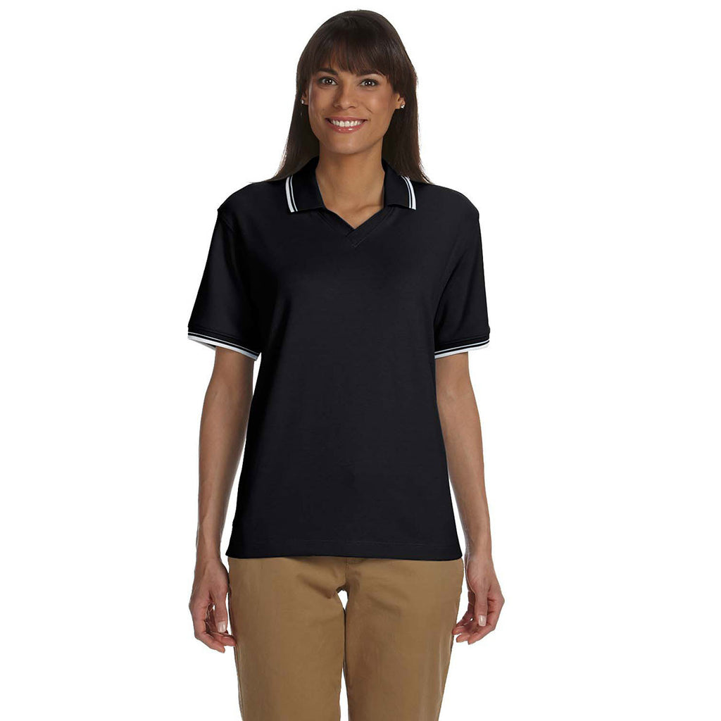 Devon & Jones Women's Black/White Tipped Perfect Pima Interlock Polo