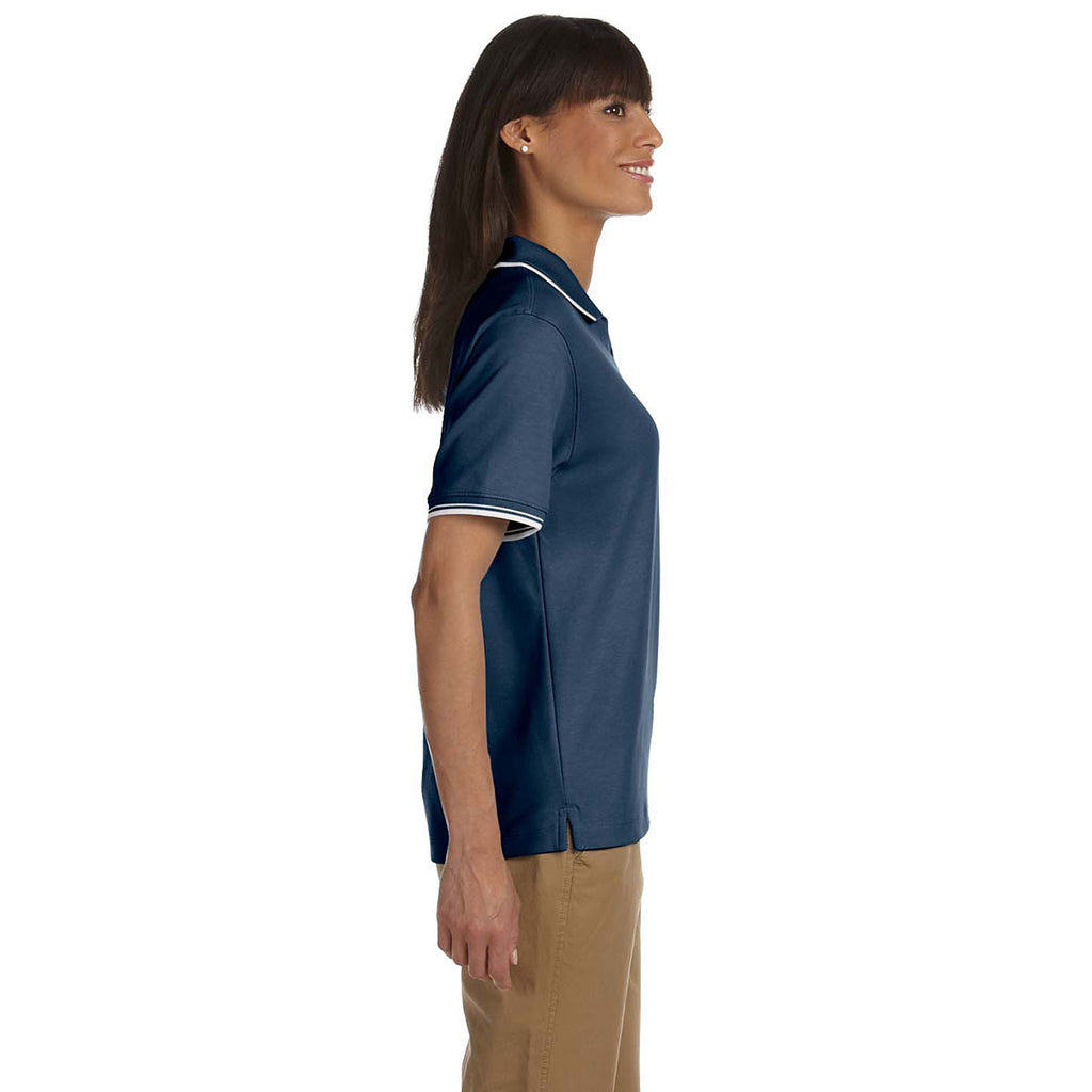 Devon & Jones Women's Navy/White Tipped Perfect Pima Interlock Polo