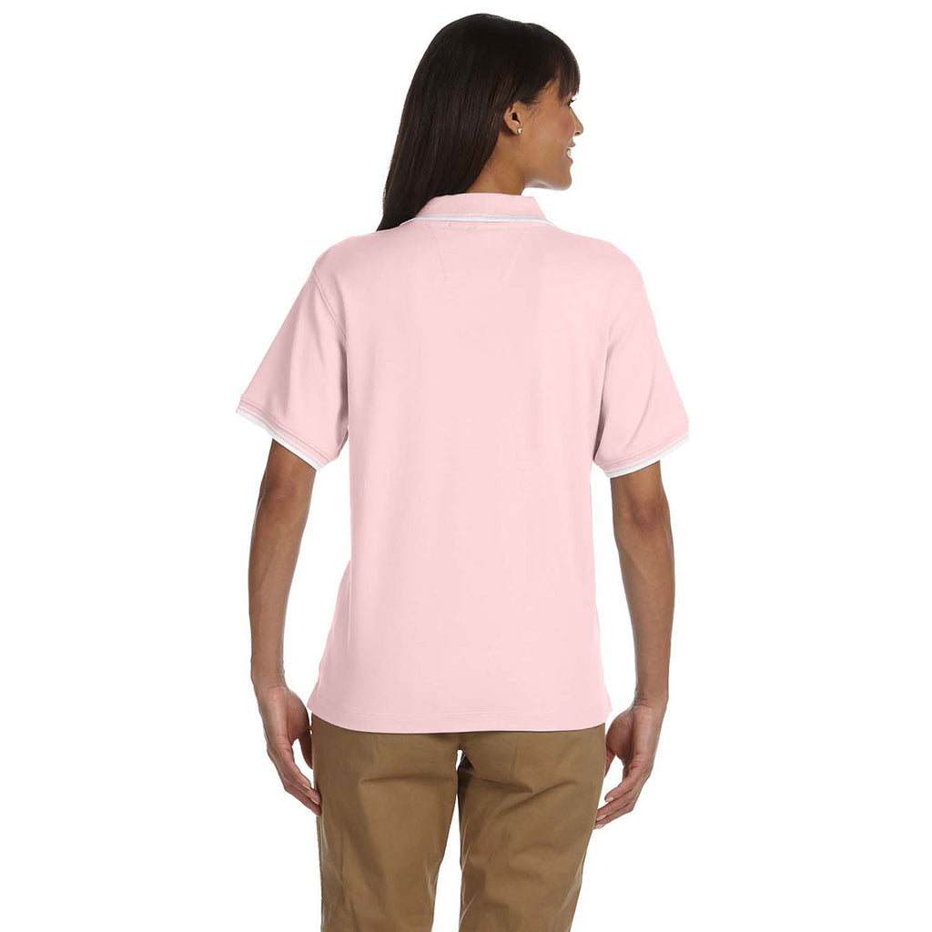 Devon & Jones Women's Pink/White Tipped Perfect Pima Interlock Polo
