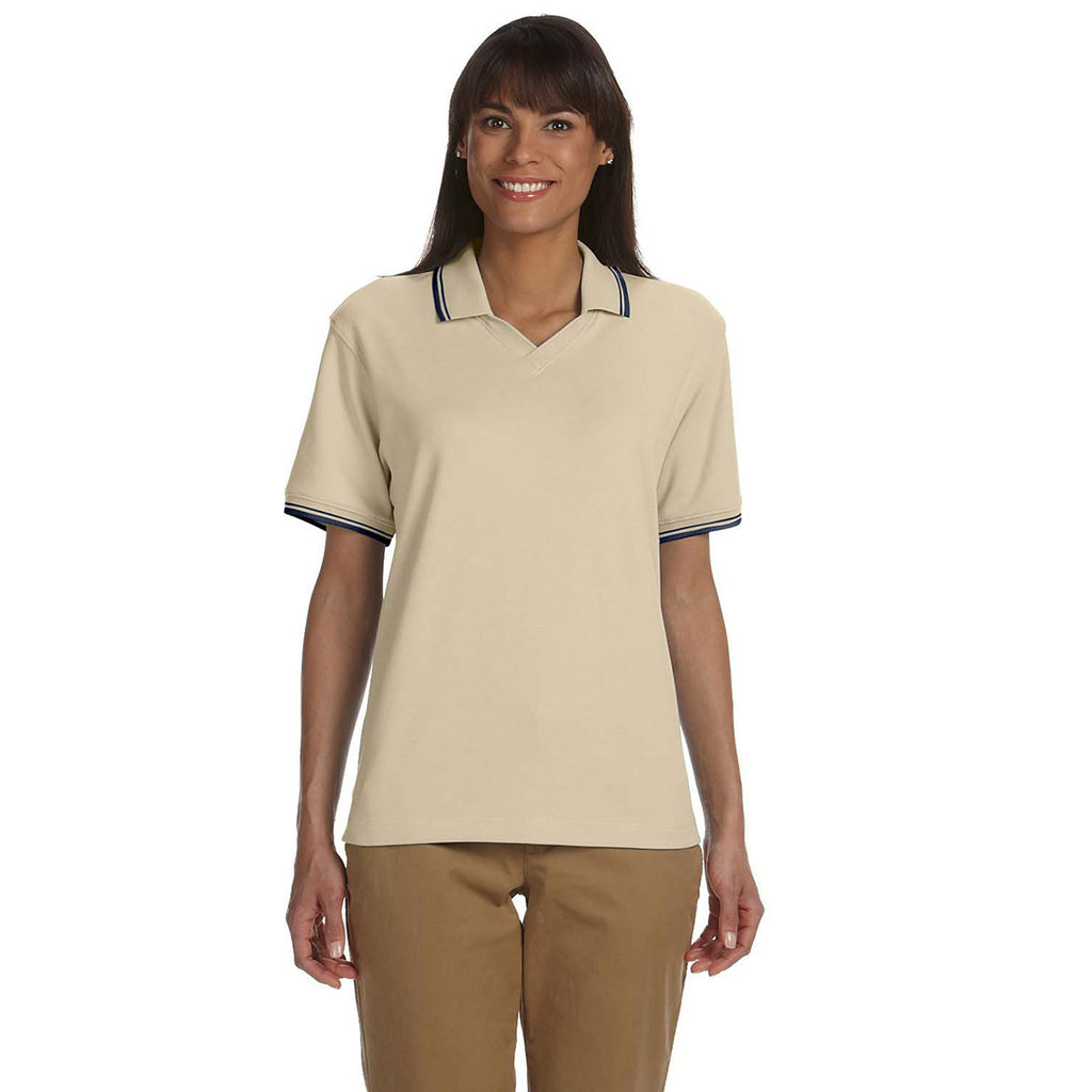 Devon & Jones Women's Stone/Navy Tipped Perfect Pima Interlock Polo
