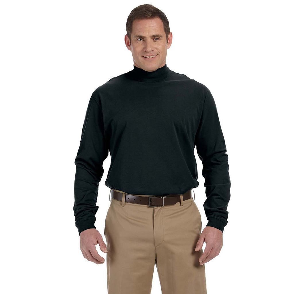 Devon & Jones Men's Black Sueded Cotton Jersey Mock Turtleneck