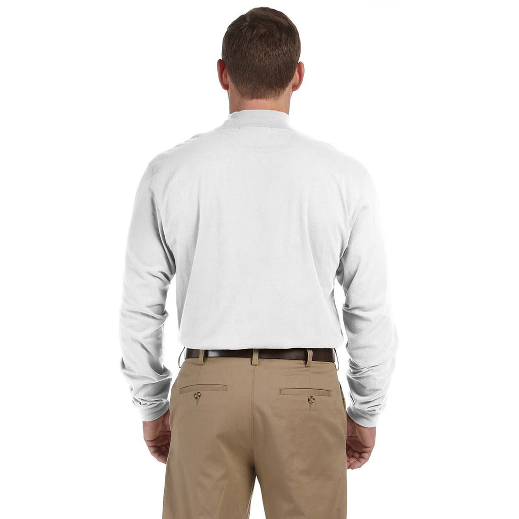 Devon & Jones Men's White Sueded Cotton Jersey Mock Turtleneck