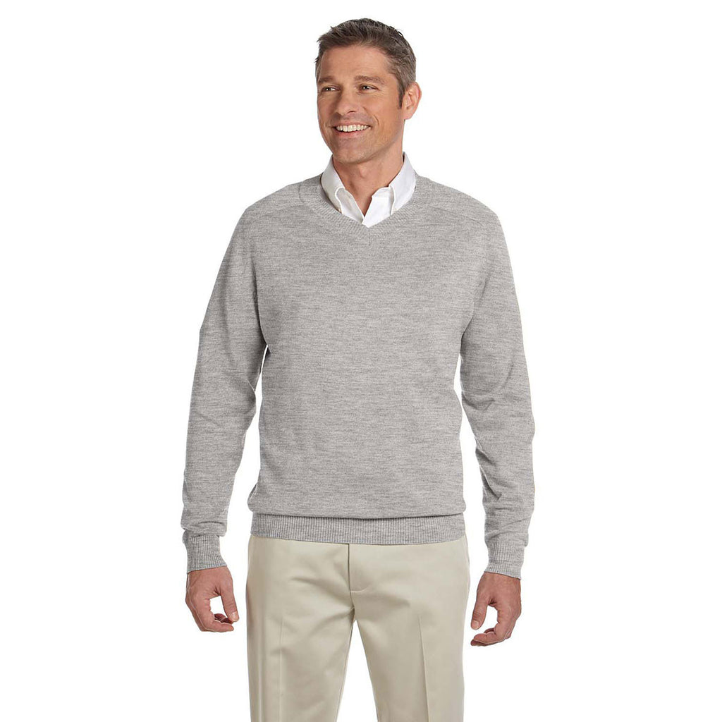 Devon & Jones Men's Grey Heather V-Neck Sweater