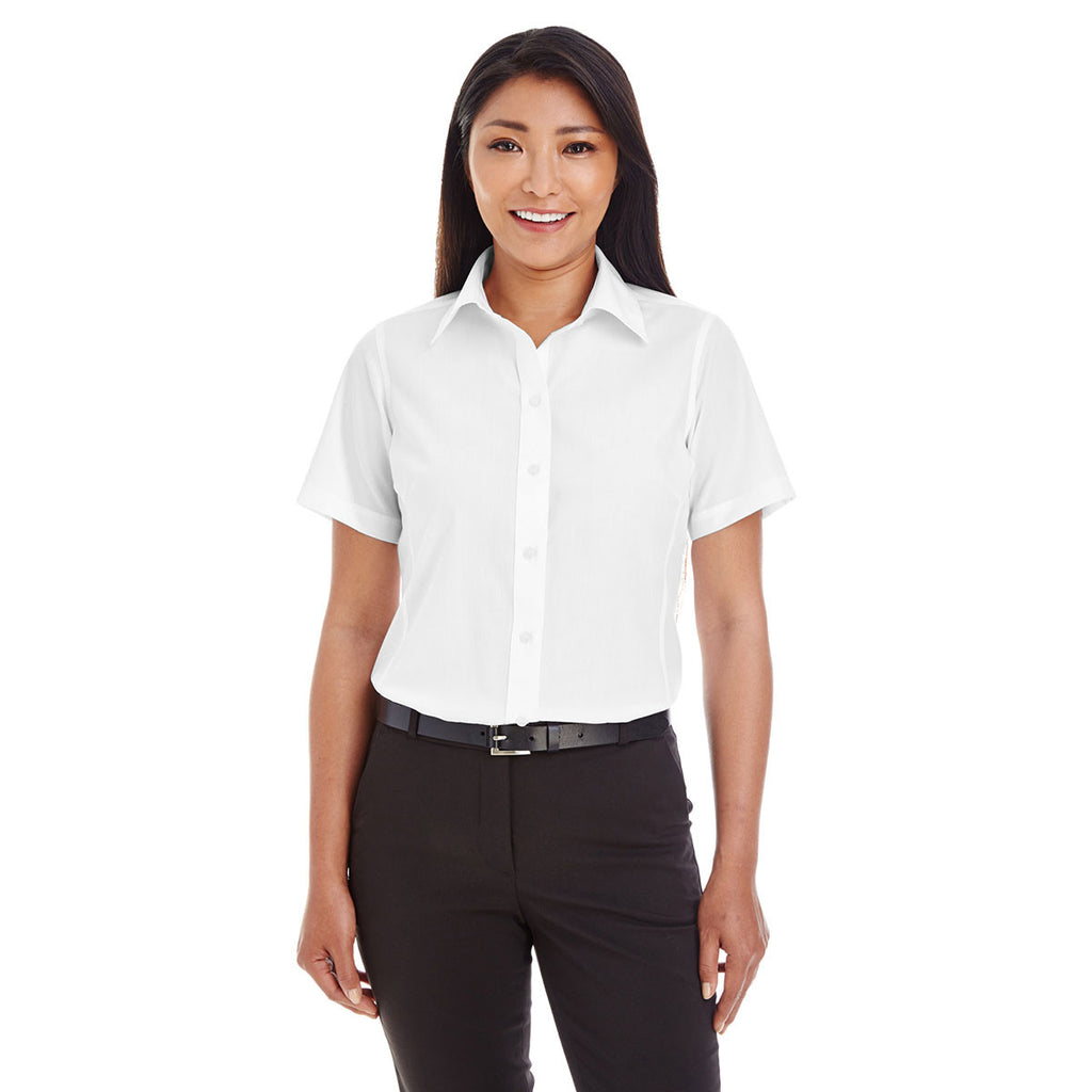 Devon & Jones Women's White Crown Collection Solid Broadcloth Short-Sleeve Shirt