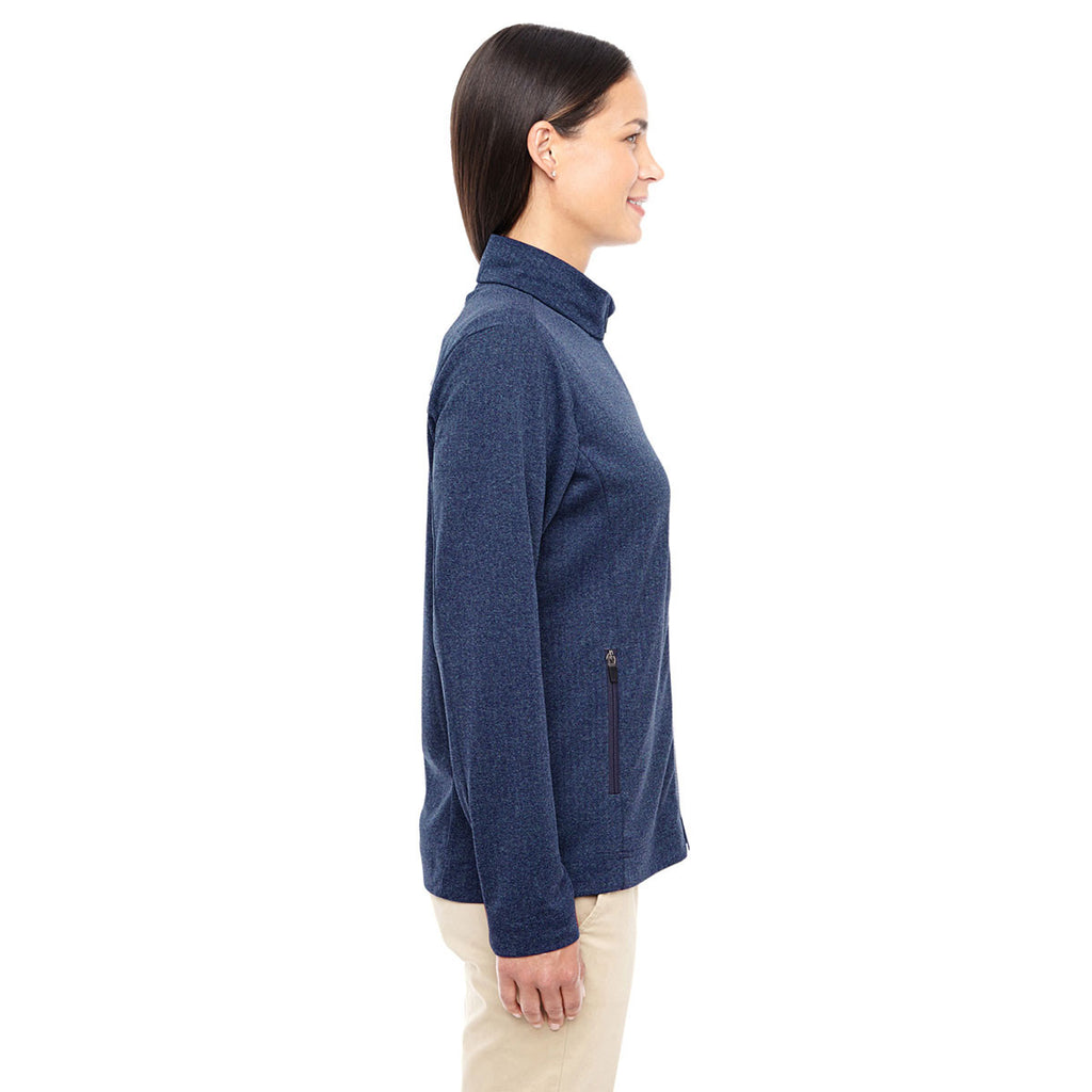 Devon & Jones Women's Navy Heather Fairfield Herringbone Full-Zip Jacket
