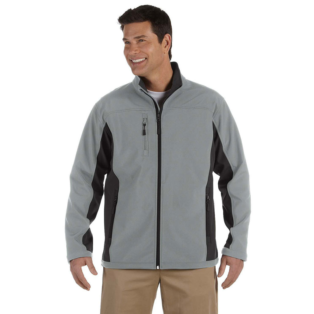 Devon & Jones Men's Charcoal/Dark Charcoal Soft Shell Colorblock Jacket