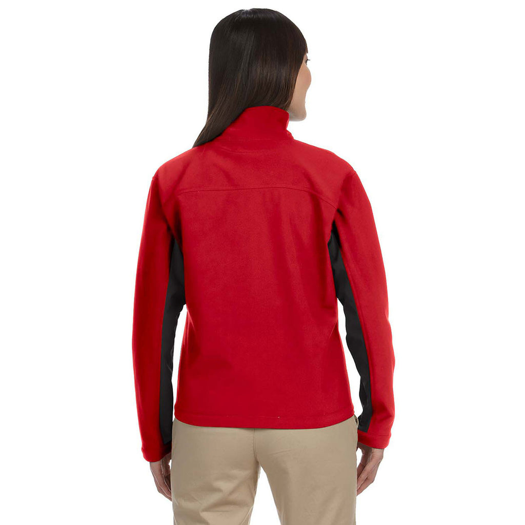 Devon & Jones Women's Red/Dark Charcoal Soft Shell Colorblock Jacket