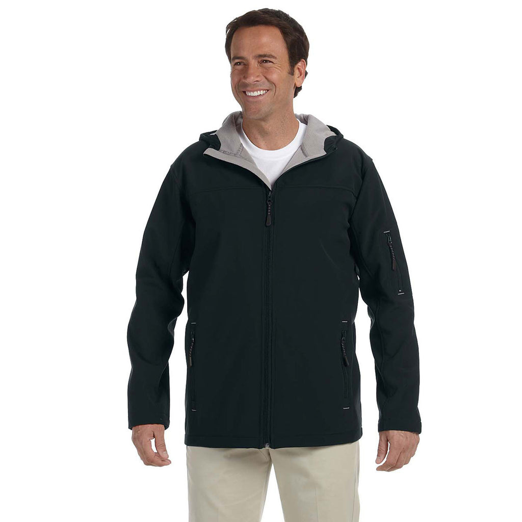 Devon & Jones Men's Black Soft Shell Hooded Jacket