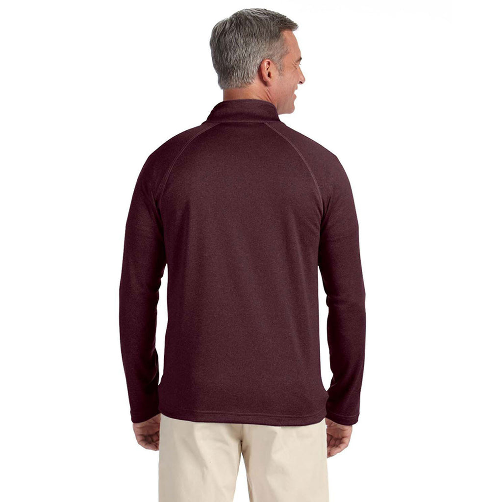 Devon & Jones Men's Burgundy Heather Stretch Tech-Shell Compass Full-Zip