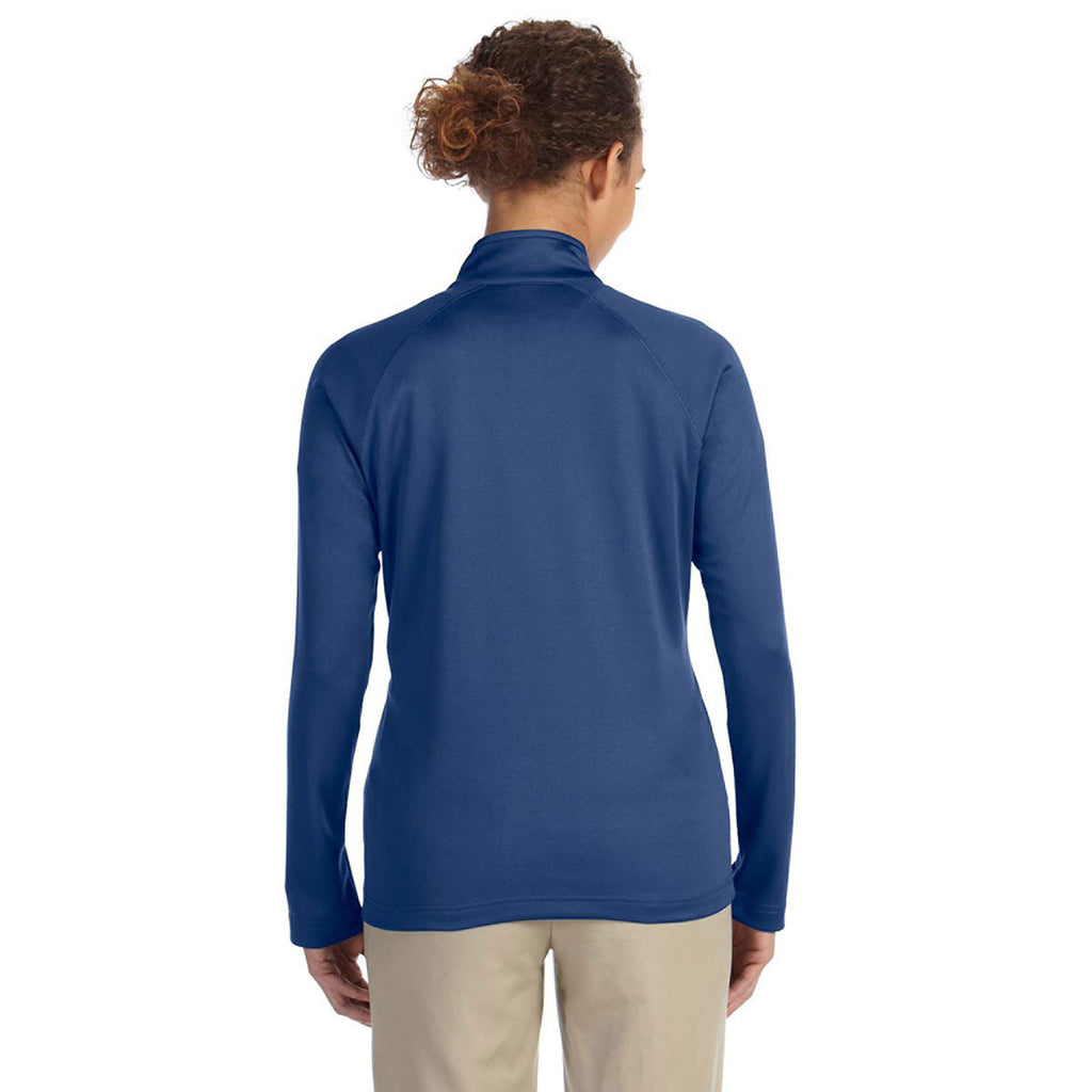 Devon & Jones Women's French Blue Heather Stretch Tech-Shell Compass Quarter-Zip
