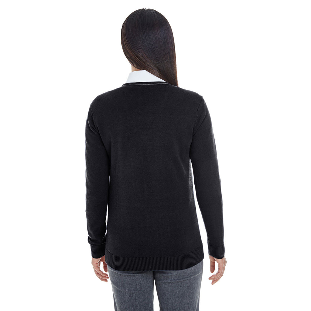 Devon & Jones Women's Black/Graphite Manchester Fully-Fashioned Full-zip Sweater