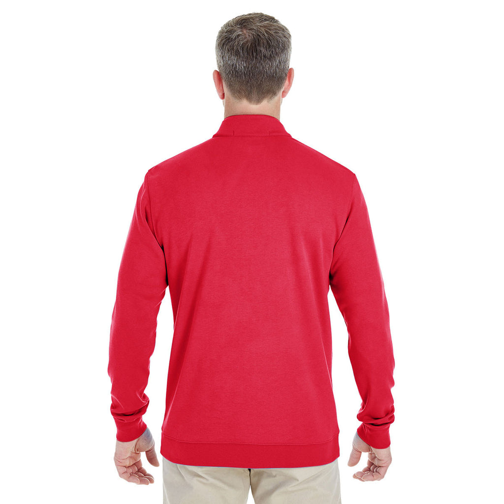 Devon & Jones Men's Red/Navy/Red Drytec 20 Performance Quarter-zip