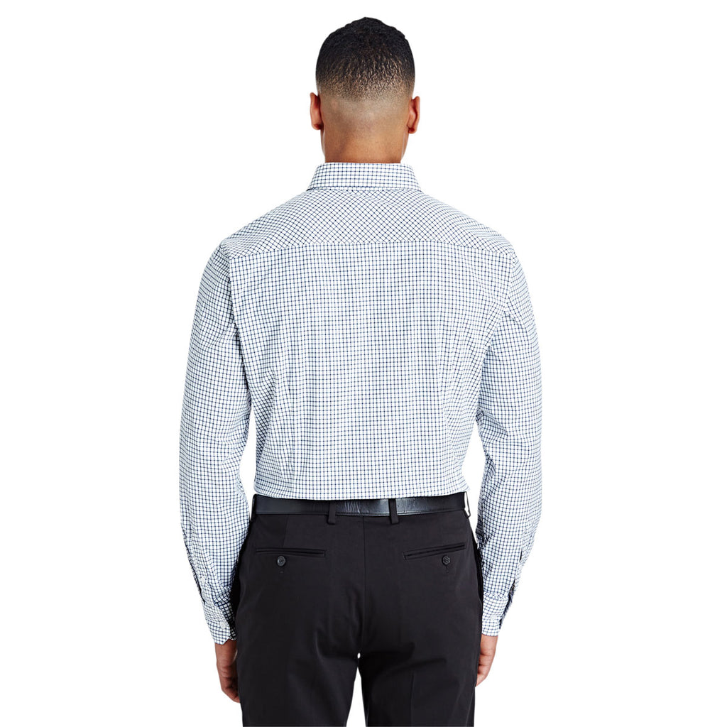 Devon & Jones Men's Navy/White CrownLux Performance Micro Windowpane Shirt