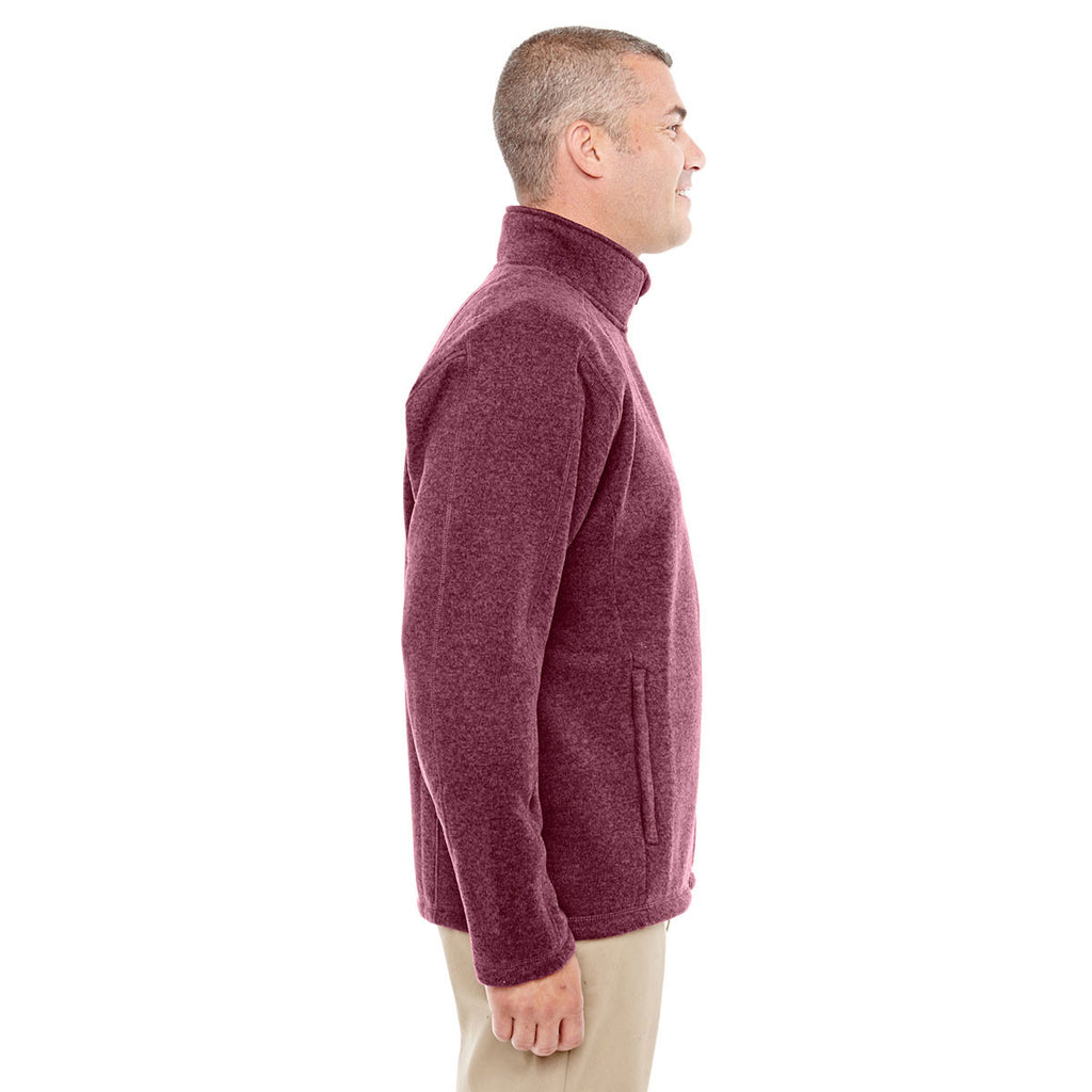Devon & Jones Men's Burgundy Heather Bristol Full-Zip Sweater Fleece Jacket