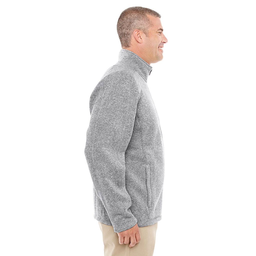 Devon & Jones Men's Grey Heather Bristol Full-Zip Sweater Fleece Jacket