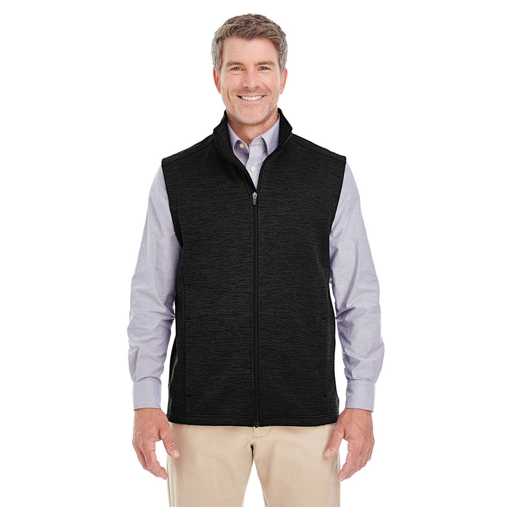 Devon & Jones Men's Black Heather Newbury Melange Fleece Vest