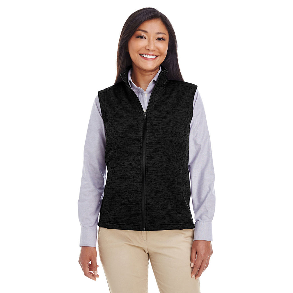 Devon & Jones Women's Black Heather Newbury Melange Fleece Vest
