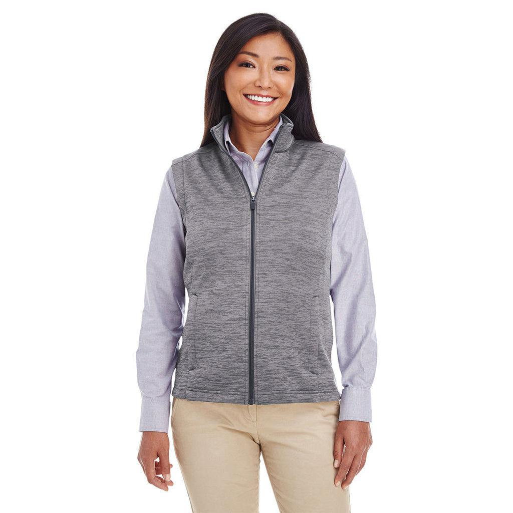 Devon & Jones Women's Dark Grey Heather Newbury Melange Fleece Vest