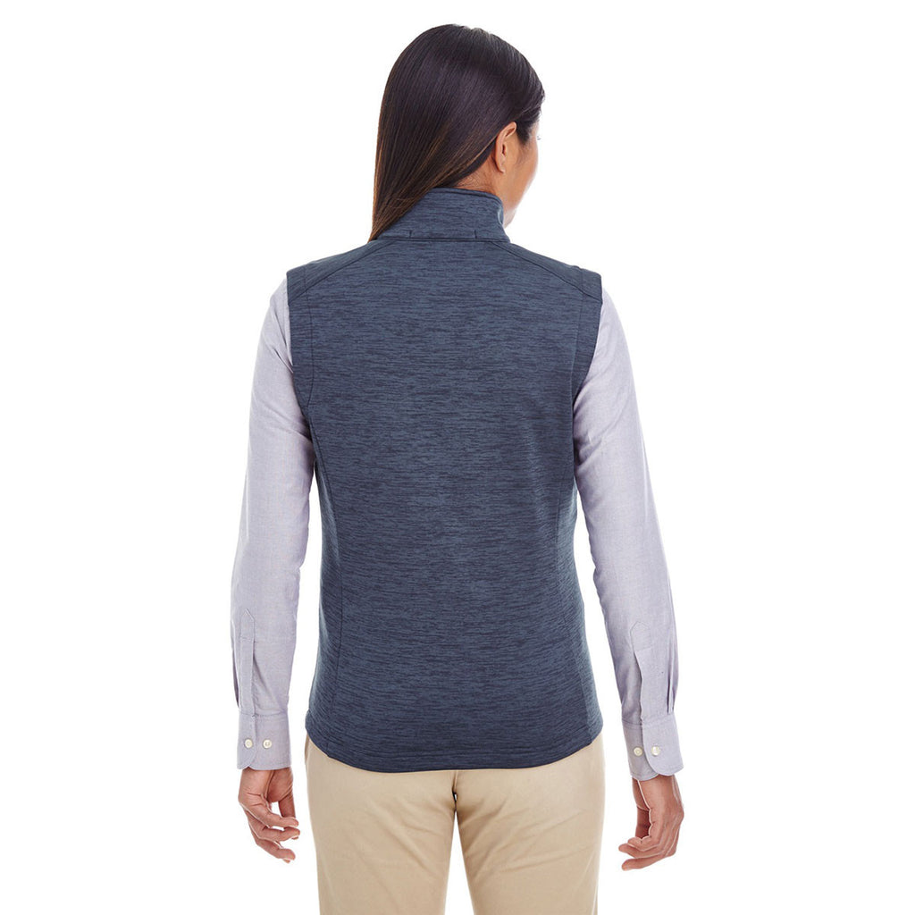 Devon & Jones Women's Navy Heather Newbury Melange Fleece Vest