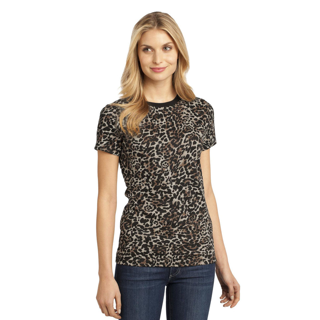 District Made Women's Leopard Perfect Weight Camo Crew Tee