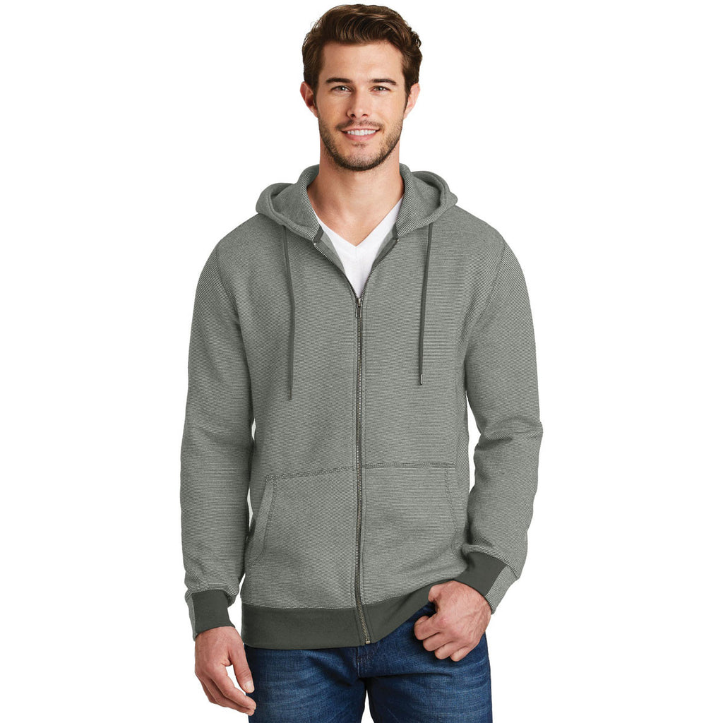 District Made Men's Light Grey/White Mini Stripe Full-Zip Hoodie