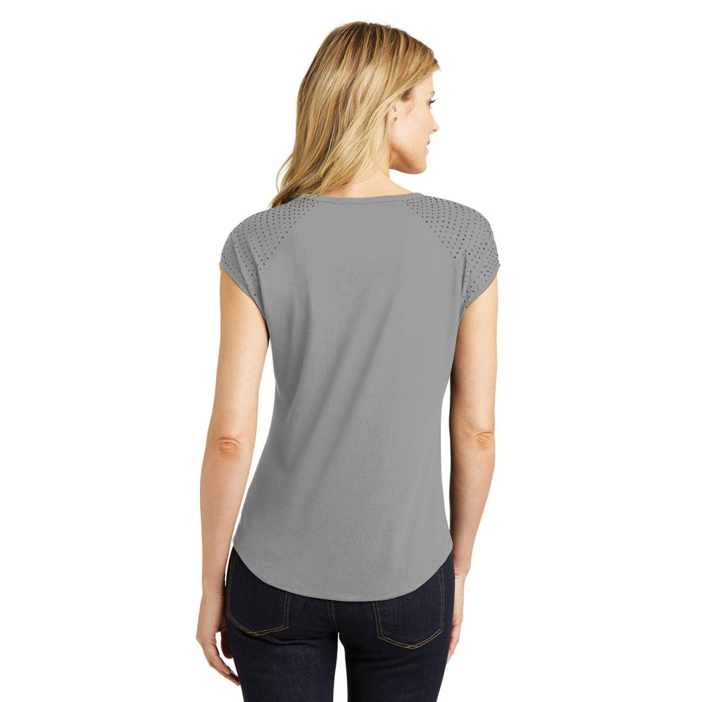 District Made Women's Frost Grey/Black 60/40 Bling Tee