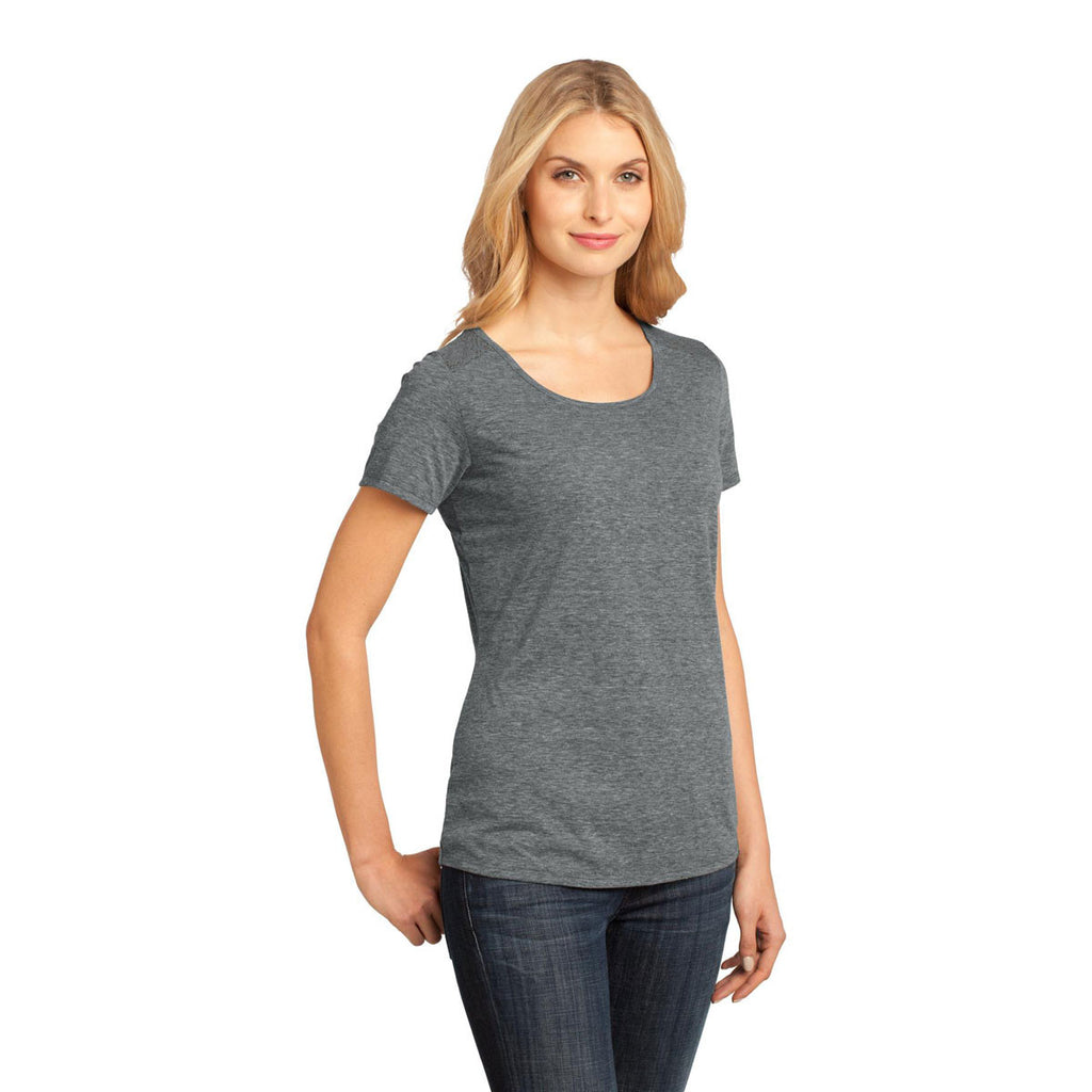 District Made Women's Grey Heather Tri-Blend Lace Tee