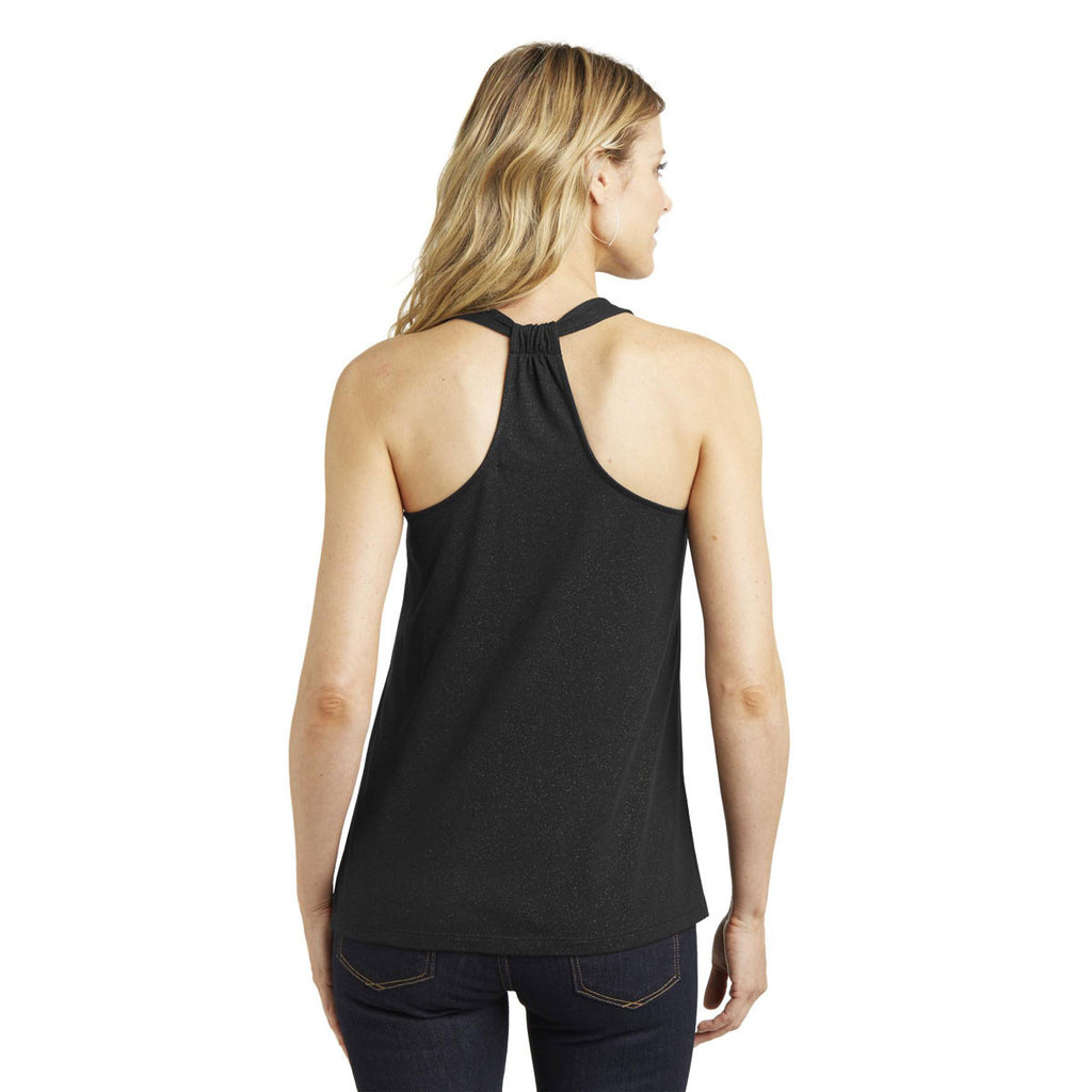 District Made Women's Black Shimmer Loop Back Tank