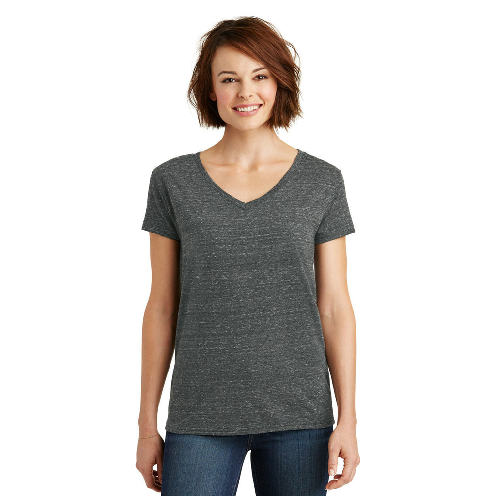 District Made Women's Black/Grey Cosmic Cosmic Relaxed V-Neck Tee