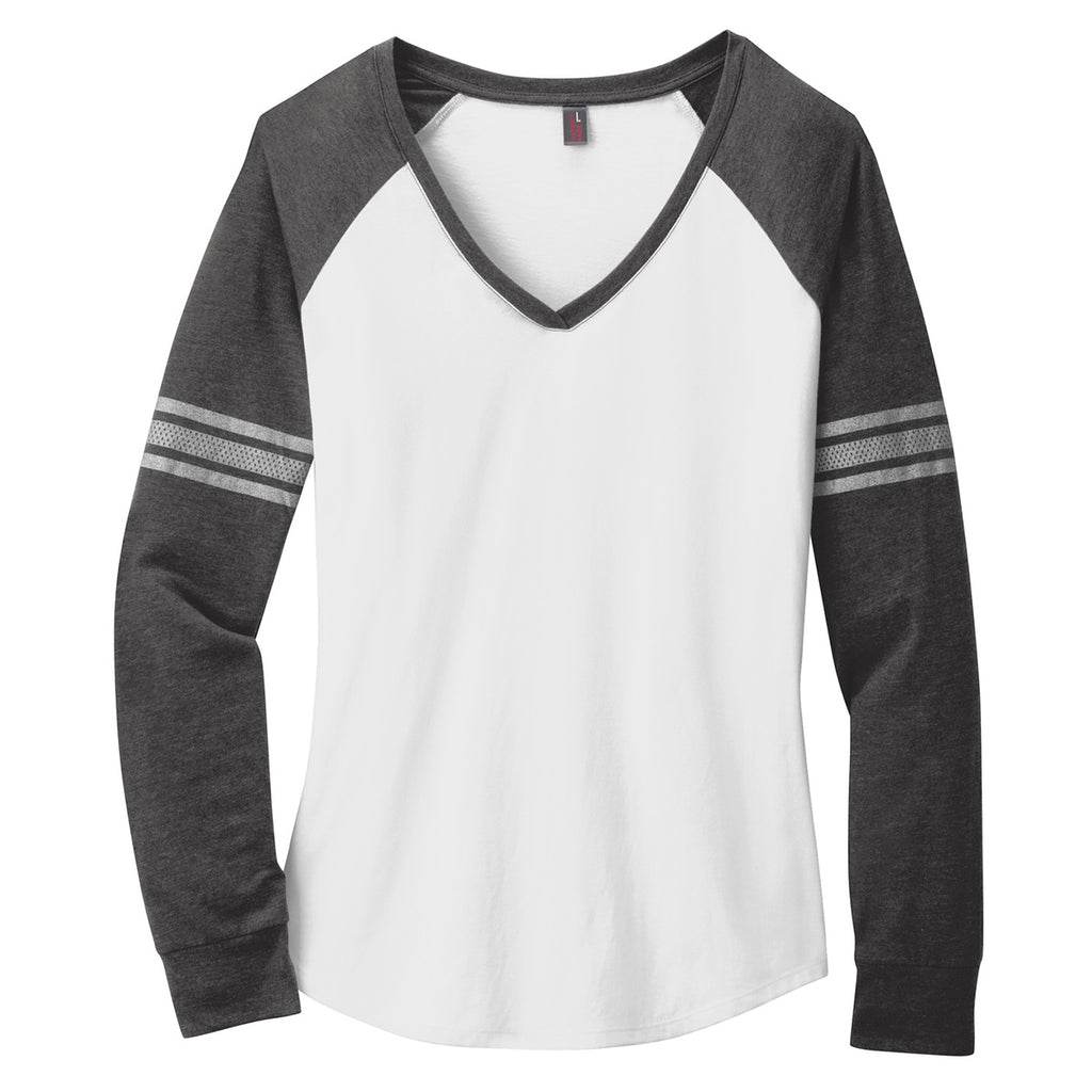 0d0a2e3e District Made Women's White/Heathered Charcoal/Silver Game Long Sleeve V-Neck  Tee. ADD YOUR LOGO