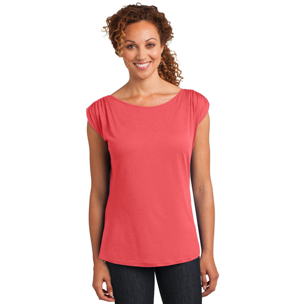 District Made Women's Coral Modal Blend Gathered Shoulder Tee