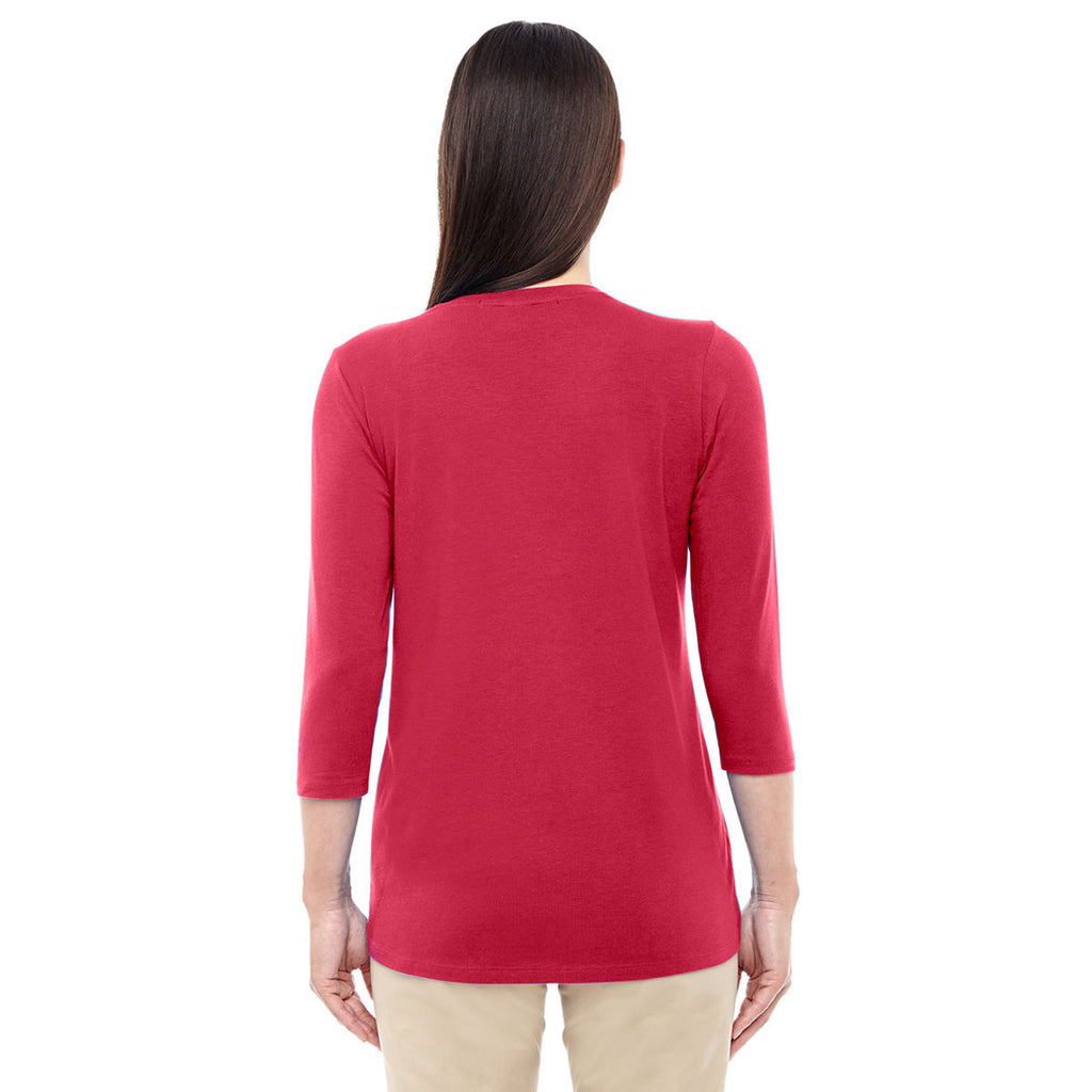 Devon & Jones Women's Red Perfect Fit Bracelet Length V-Neck Top