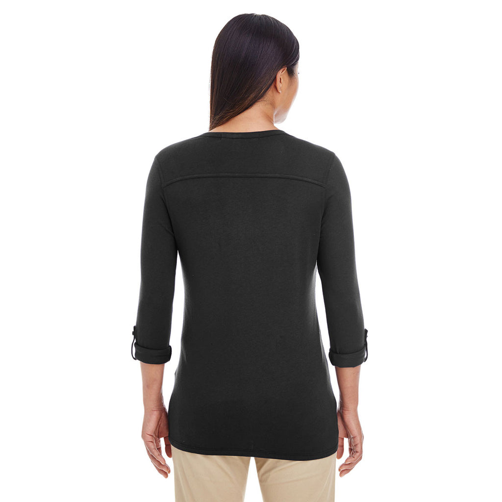 Devon & Jones Women's Black Perfect Fit Y-Placket Convertible Sleeve Knit Top